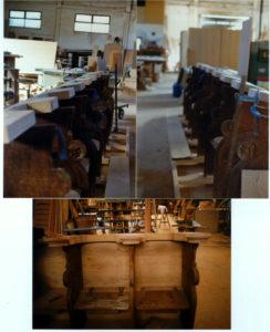 - Na foto acima: duas laterais da pedra de cantaria com o apoio de cabeça, de uma peça, colocado em bruto. - na parte inferior: o apoio de cabeça e corte e preparado para fixação definitiva.