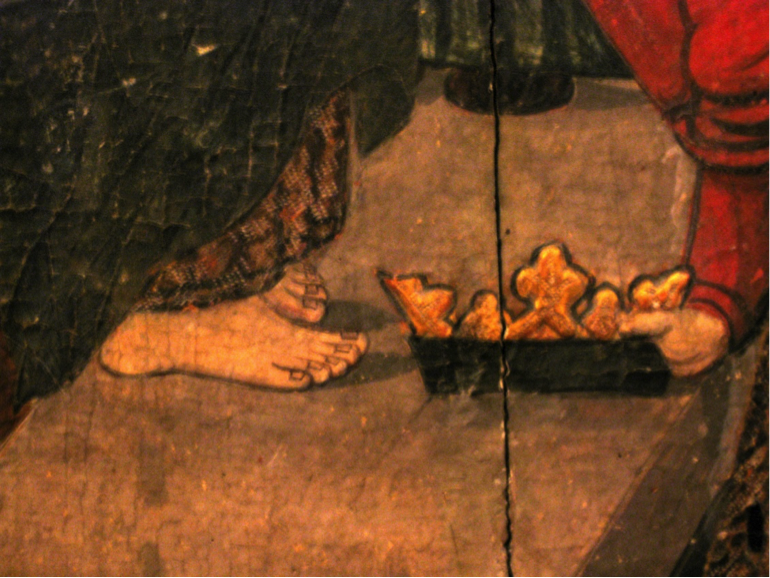 Details of the offering of one of the Magi to the infant Jesus. air, deposited barefoot Mary.